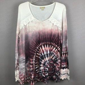 Live and let live Tie Dye print Woman's Top. SZ XL